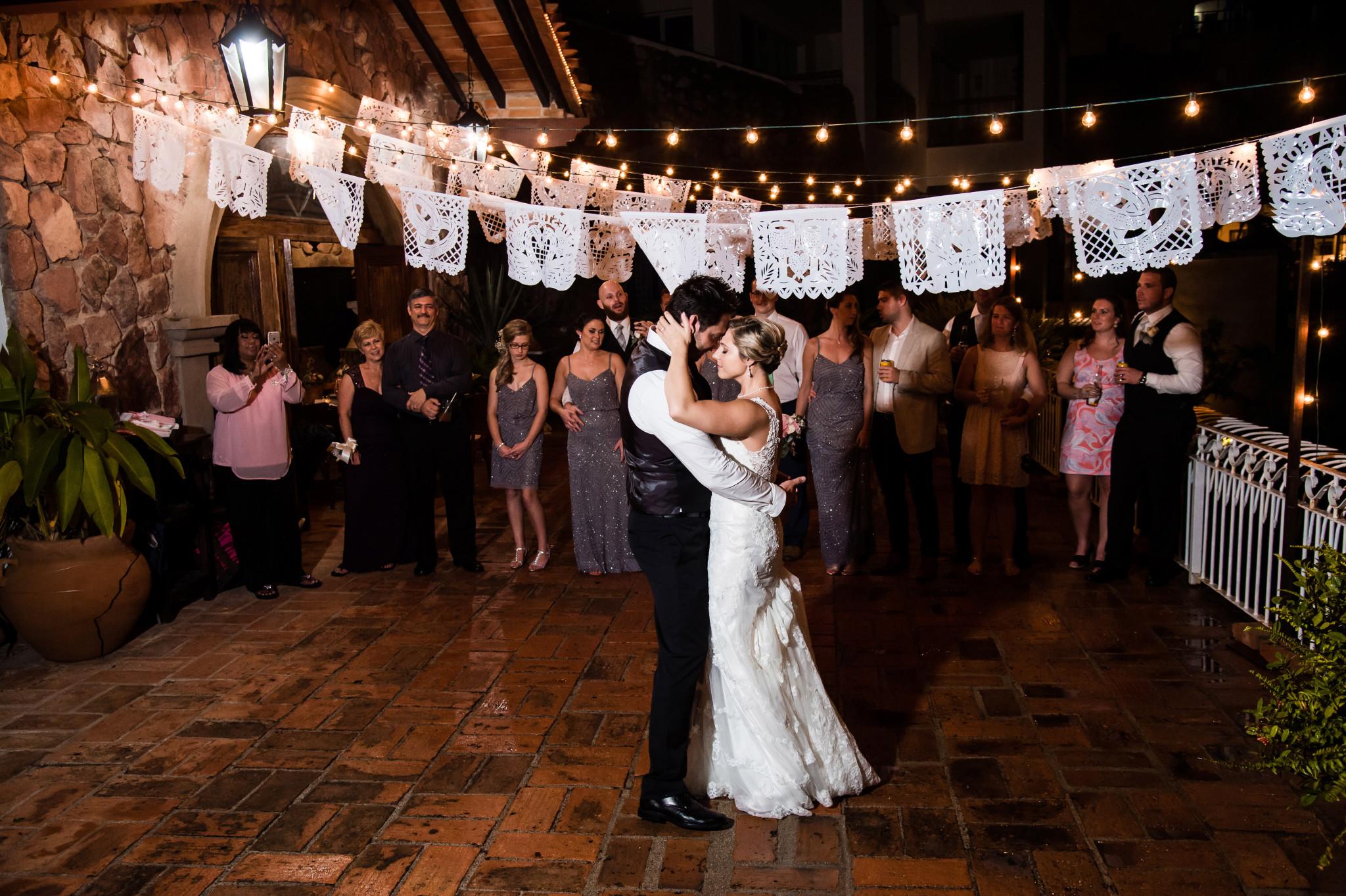 bride and groom dancing at Villa Celeste