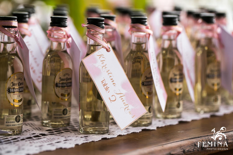 Mini bottles of tequila as Destination Wedding favors