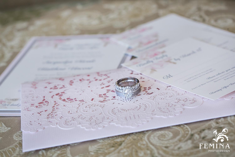 wedding rings on invitation at Mallard Island Yacht Club