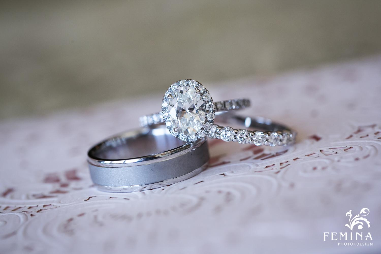 wedding ring detail shot at Mallard Island Yacht Club
