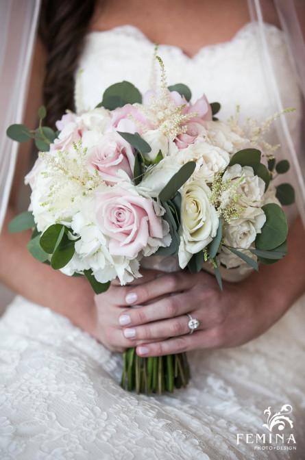 Bride Jackie's bridal bouquet at Mallard Island Yacht Club