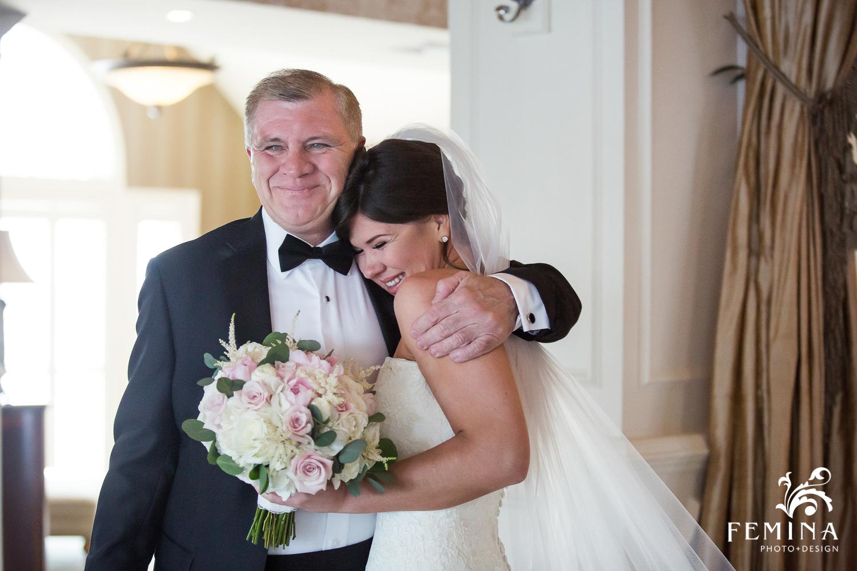 Bride with her father at Mallard Island Yacht Club