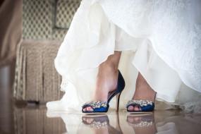 Blue wedding shoes at Mallard Island Yacht Club