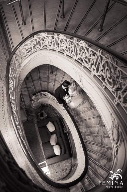 Hyatt_at_the_Bellevue_Wedding_Bride_and_Groom_on_the_Stairs