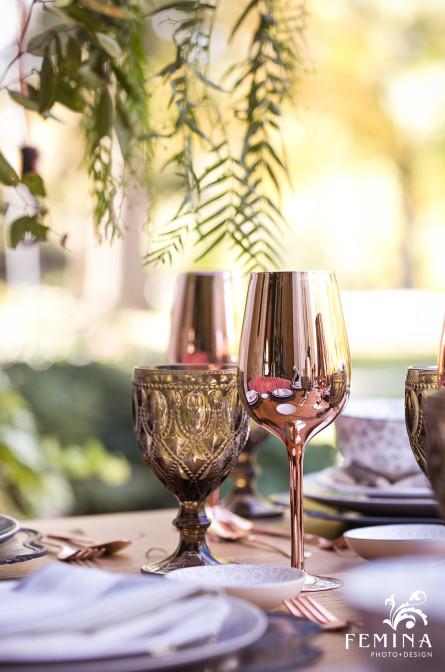 Rose gold glassware for a wedding reception at Cairnwood Estate