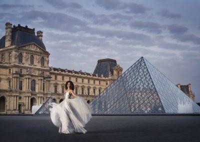 Bride at the Louvre at Paris Destination Wedding