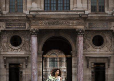 Bride in Raincloud Wedding Gown for Paris Destination Wedding