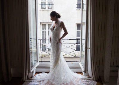 Bride in Beautiful Wedding Gown in Paris Loft