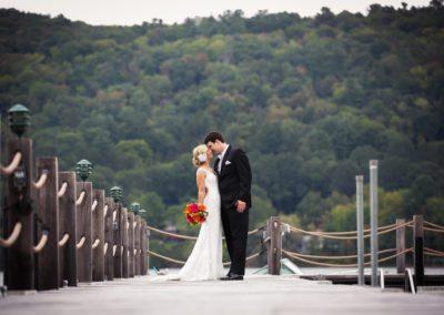 Bride and Groom at Lakeside Destination Wedding at Otesaga Hotel