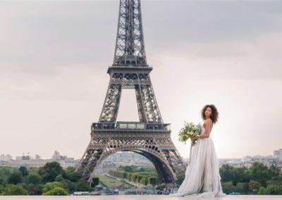 Bride at Eiffel Tower in Paris