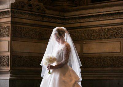 Beautiful light illuminates Bride at City Hall, Philadelphia