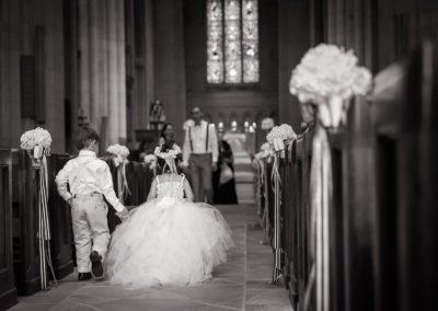 Ring Bearer & Flower Girl walk down the aisle in Philadelphia Wedding
