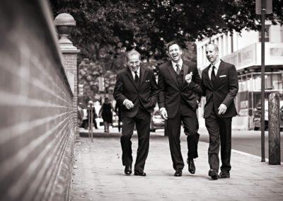 Groomsmen walk to ceremony for Philadelphia Wedding