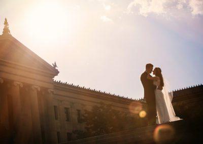 Philadelphia Wedding Photography at Art Museum at sunset