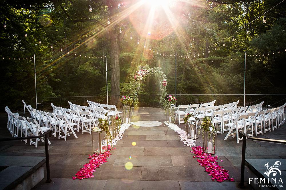 Old Stone Mill wedding ceremony at New York Botanical Garden Wedding