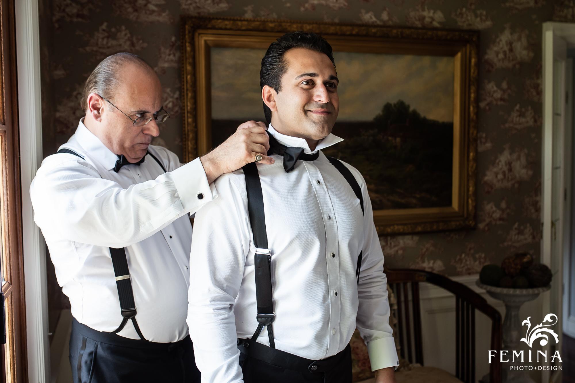 Groom Alex getting ready for his wedding day