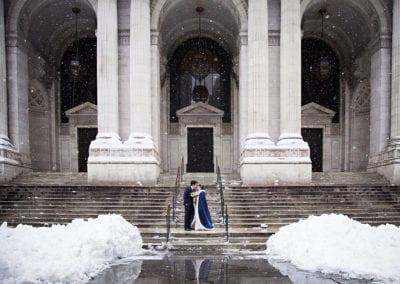 WIntery NYC Public Library Wedding Portraits